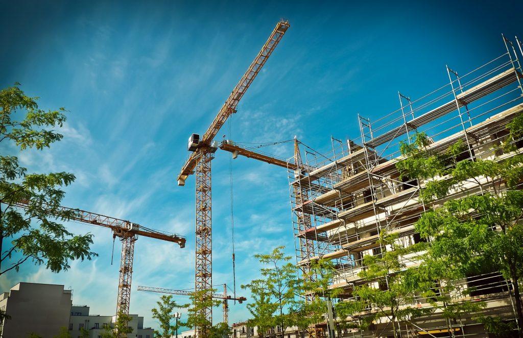 construction, construction cranes, building, scaffolding
